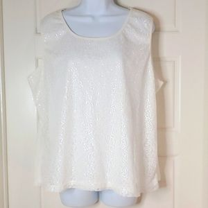 George Sequin Tank Shell Ivory